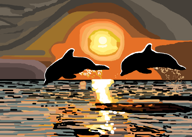 Pamela Williamson Dolphins in Golden Sunset