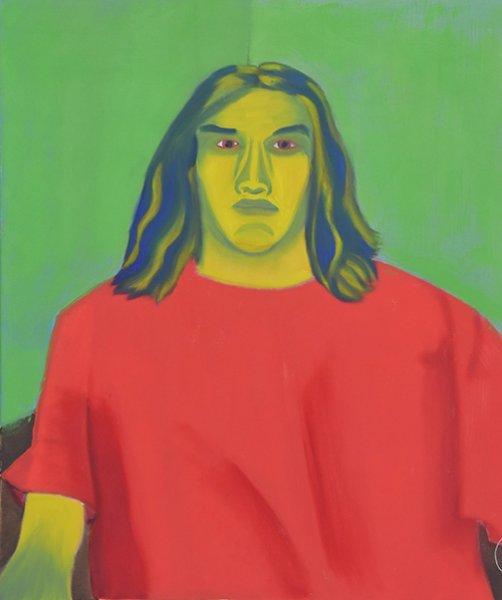 Austin Self Portait, green and red bright, Pasadena, 2014