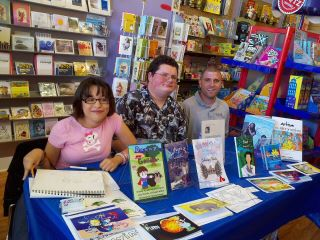 Dani Bowman, Andrew Lennen, Brent Anderson at the Curious Cup Bookstore