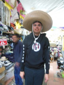 Kevin with Sombrero and new T.J. sweatshirt