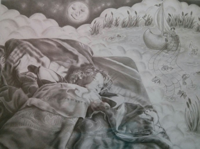 """Land of Nod"" A graphite self-portrait, completed at age 17, depicting myself at age four."
