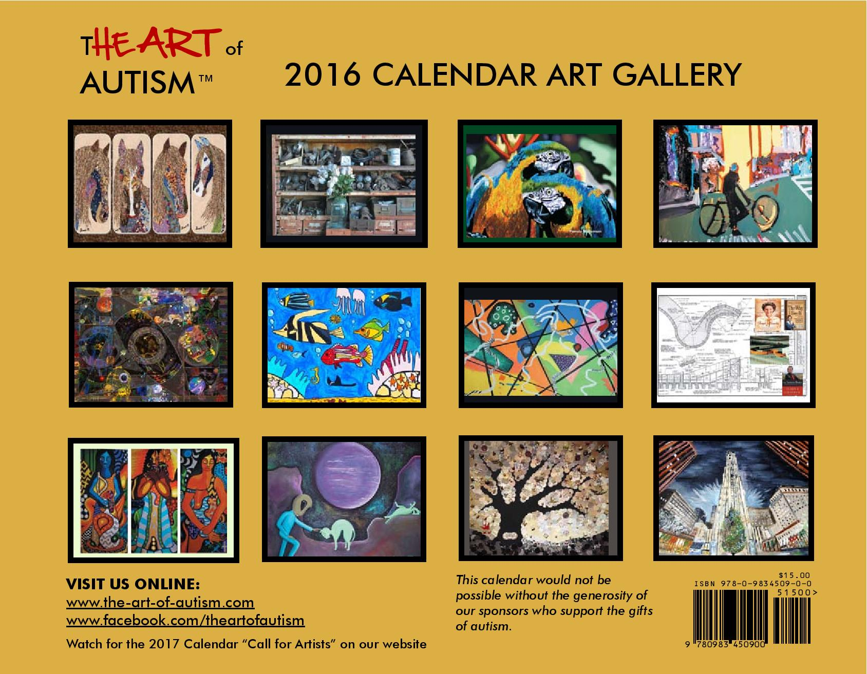 Calendar Of Art : The art of autism calendar is available for preorder