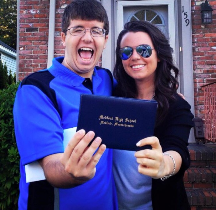 Pat with Natalie on High School graduation day
