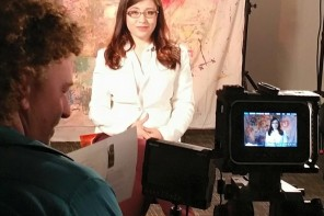 Taylor Cross interviewing Dani Bowman on the set of Normal People Scare Me Too