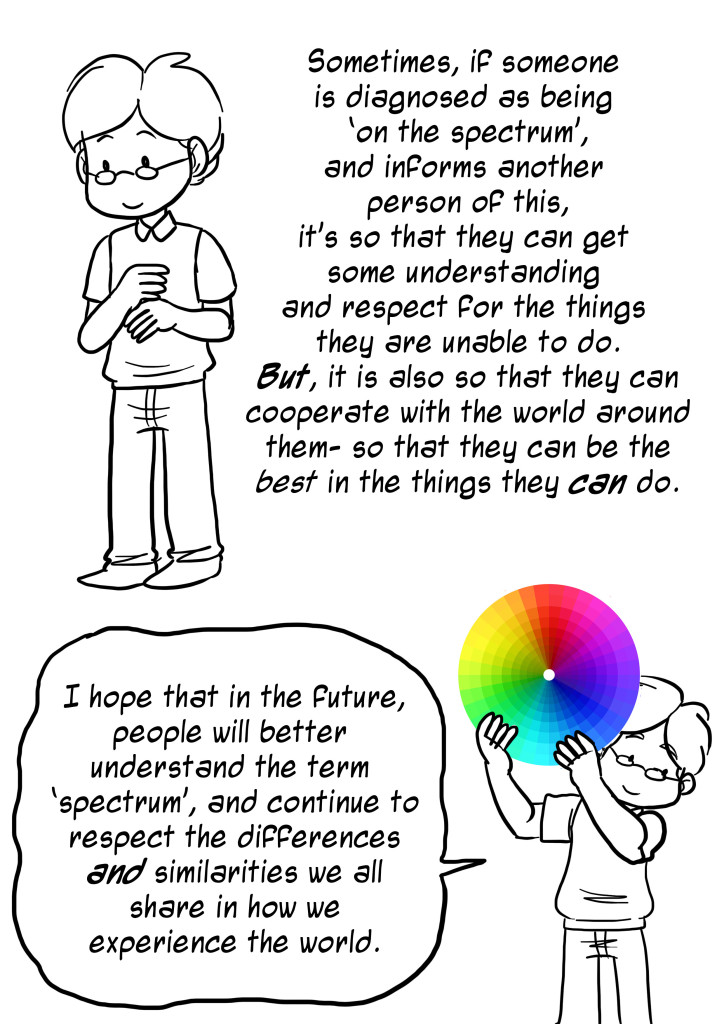 Sometimes, if someone is diagnosed as being on the spectrum, and informs another person of this, it's so that they can get some understanding and respect for the things they are unable to do. But, it is also so that they can cooperate with the world around them - so that they can be the best in the things they can do. I hope that in the future, people will better understand the term spectrum, and continue to respect the differences and similarities we all share in how we experience the world.