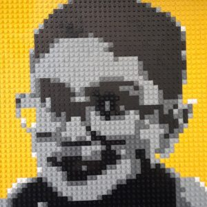 Carlos self-portrait made out of Legos