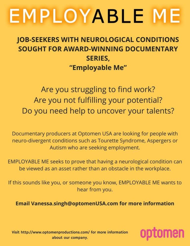 Optomen flyer for casting call for neurodivergent for Employable Me
