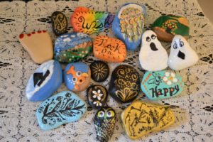 rocks and shells painted
